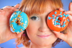 Eating donut Stock Photo