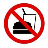 Eating and drinking forbidden. Illustration of a sign saying that drinking and eating is forbidden Royalty Free Stock Image