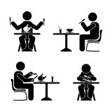 Eating and drinking pictogram. Stick figure black and white boy set. Eating and drinking pictogram. Stick figure black and white boy set Stock Image