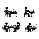 Eating and drinking pictogram. Stick figure vector dining couple icon on white. Eating and drinking pictogram. Stick figure vector dining couple icon on white Stock Photo