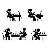 Eating and drinking pictogram. Stick figure vector dining couple icon on white. Eating and drinking pictogram. Stick figure vector dining couple icon on white Stock Images