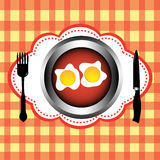 Eating eggs Royalty Free Stock Image