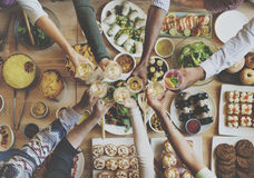 Eating Enjoy Food Festive Cafe Celebrate Meal Concept. People Eating Enjoy Food Festive Cafe Celebrate Meal Royalty Free Stock Images