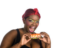 Eating fast food Royalty Free Stock Photo