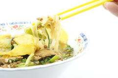 Eating Fine Cut White Rice Noodle Soup Vegetarian. For health Stock Photos