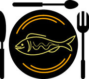 Eating fish logo. Illustration art of a eating fish logo with isolated background Stock Photography