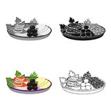 Eating fish and salad. Eating and cooking single icon in cartoon style vector symbol stock illustration web. Eating fish and salad. Eating and cooking single Royalty Free Stock Photos