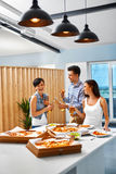 Eating Food. Friends Having Dinner Party. Holiday Celebration. F Royalty Free Stock Image