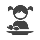 Eating Food. Eating, kid, child icon vector image. Can also be used for kids. Suitable for use on web apps, mobile apps and print media Stock Photo