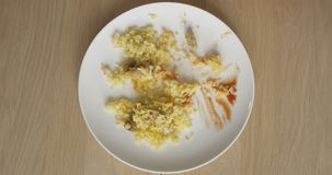 Eating Food Rice Top View of Plate with Ketchup Rice and Meat on a Wooden Table in Timelapse stock footage