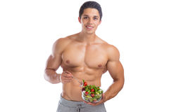 Eating food salad bodybuilding bodybuilder body builder building Royalty Free Stock Photo