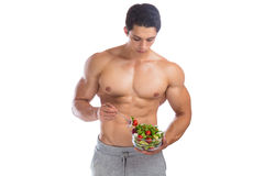 Eating food salad bodybuilding bodybuilder body builder building Royalty Free Stock Image
