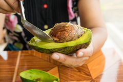 Eating fresh Avocodo  for healthy Stock Photography