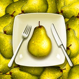Eating fresh fruits, healthy diet concept with a fork knife and plate on a pile of pears Stock Images