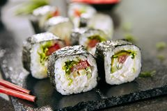 Free Eating Fresh Vegetarian Sushi Rolls Or Veggie Roll With Chopsticks Stock Images - 158216004