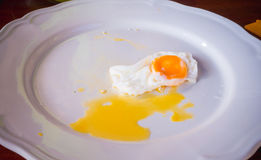 Eating fried egg Royalty Free Stock Photography