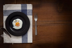 Eating fried eggs flat lay still life rustic with food stylish Royalty Free Stock Photo