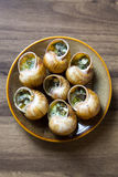 Eating the fried snails in garlic butter Royalty Free Stock Image