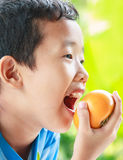 Eating fruit. A boy eat fresh fruit and smile Stock Images