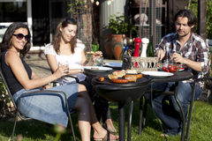 Eating in garden Stock Photo