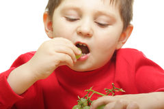 Eating grapes. Boy eating grapes isolated over white Stock Photography