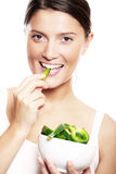 Eating green pepper Royalty Free Stock Photography