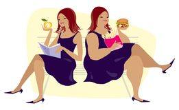 Eating habits. Two different kinds of lunch Vector Illustration