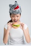 Eating hamburger Stock Photos