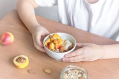 Healthy breakfast bowl in hands. Eating healthy breakfast bowl. Oatmeal granola, yougurt, fresh nectarins inwhite bowl in female child hands over wooden table Stock Images