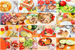 Eating healthy. Collage of various delicious meals of meat, poultry, fish.Snacks and desserts.Vegetarian salad, dairy products, soups and beverages. Diverse food stock photo