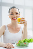 Eating healthy food Stock Photos