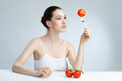 Eating healthy food Stock Photography