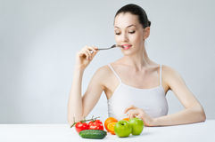 Eating healthy food Royalty Free Stock Image