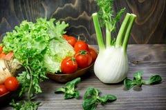 Eating healthy food - fresh organic vegetables Stock Photos