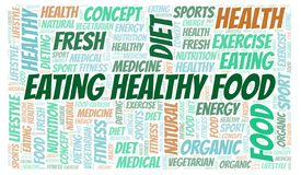 Eating Healthy Food word cloud. Wordcloud made with text only stock illustration