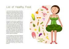 Eating healthy idea and diet tips. And Woman in broccoli dress concept. Flat Art Vector illustration stock illustration