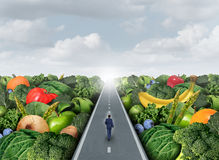 Eating Healthy Path. Concept as a person walking on a road with fruits and vegetables as an agriculture metaphor for organic market fresh health food or royalty free illustration