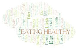 Eating Healthy word cloud. Wordcloud made with text only royalty free illustration
