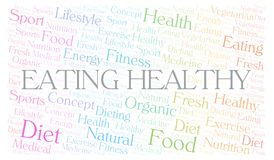 Eating Healthy word cloud. Wordcloud made with text only vector illustration