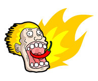 Eating hot spicy chilli. Funny draw eating spicy chilli Stock Images