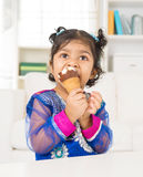 Eating ice cream at home. Royalty Free Stock Images