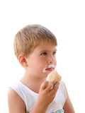 Eating ice cream isolated Royalty Free Stock Image