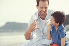 Eating icecream together Stock Images