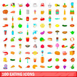 100 eating icons set, cartoon style Royalty Free Stock Image