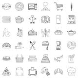 Eating icons set, outline style Royalty Free Stock Images