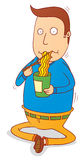 Eating instant noodle. Illustration of a man eating a cup of noodle Stock Photos