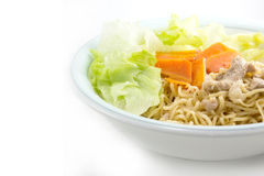Eating instant noodle with minced pork Stock Images