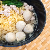 Eating instant noodle with minced pork and pork ball Stock Images
