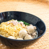 Eating instant noodle with minced pork and pork ball Stock Photography