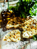 Eating Italian focaccia bread Stock Photos